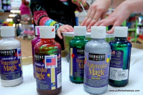 liquid watercolor in glitter, metallic and regular