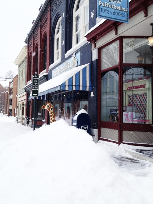 Snow outside Pufferbellies in Staunton Virginia