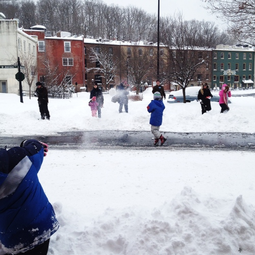 Snowball fight outside Pufferbellies toy store in Staunton Virginia
