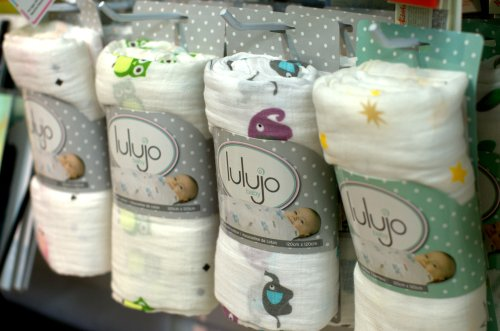 Lulujo muslin blankets on display at Pufferbellies Toys and Books in Staunton, Virginia