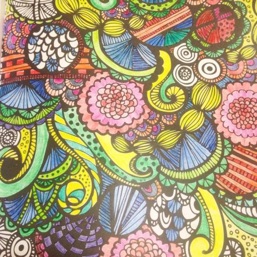 Joyful Designs page colored with Inktense pencils