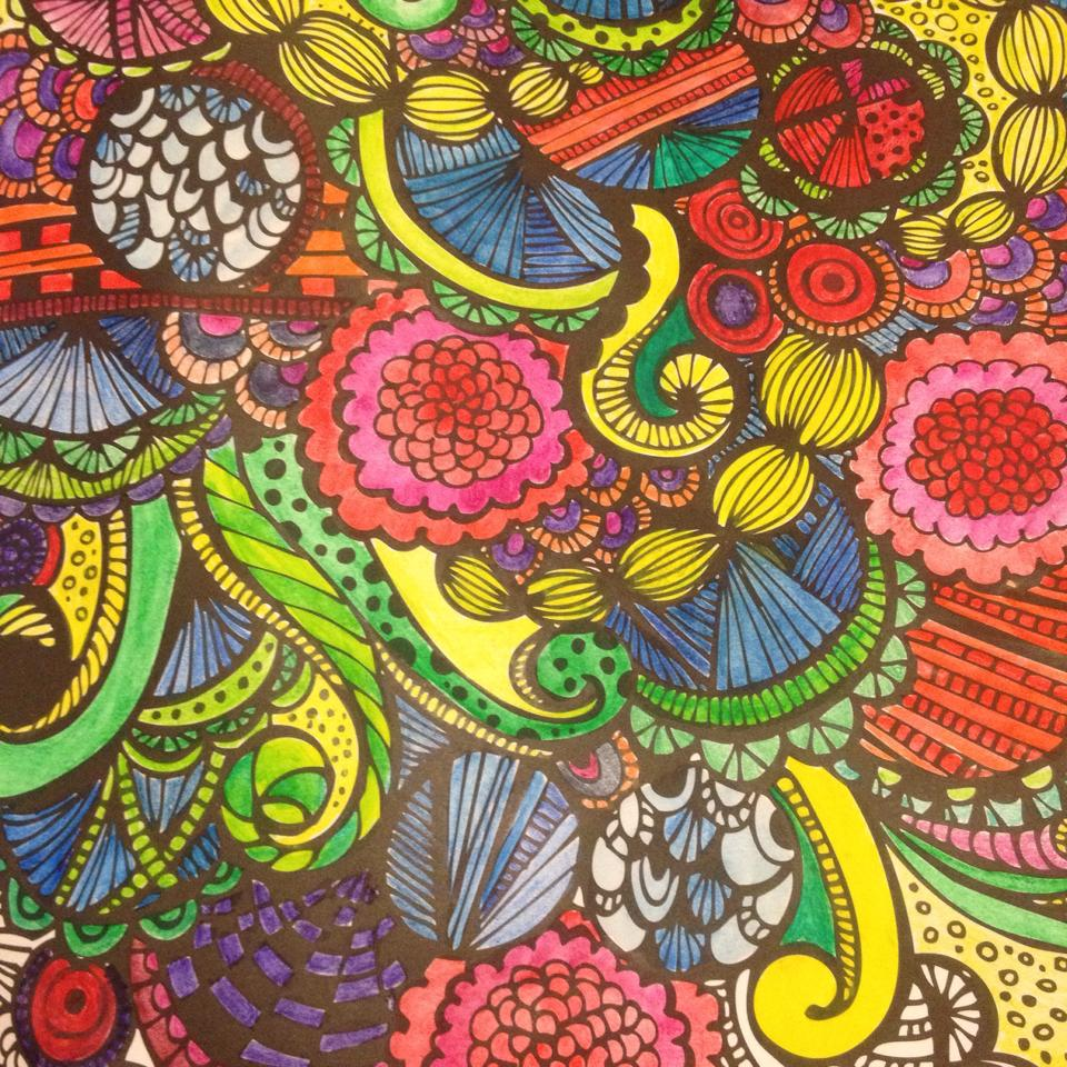 Joyful Designs Page Colored With Inktense Pencils Water And Additional Ink